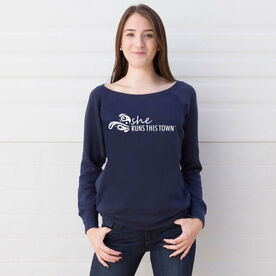 Running Fleece Wide Neck Sweatshirt - She Runs This Town Logo (White)