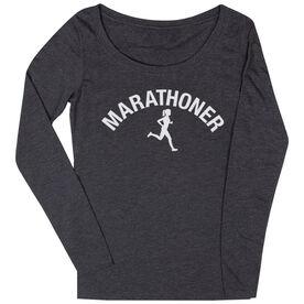 Women's Runner Scoop Neck Long Sleeve Tee - Marathoner Girl