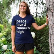 Women's Running Short Sleeve Tech Tee - Peace Love & Runner's High