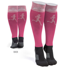 Running Printed Knee-High Socks - Runner With Tiara