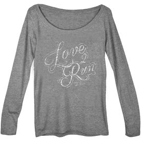 Women's Scoop Neck Tees Love To Run (Script)