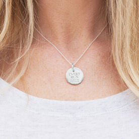 Sterling Silver 20mm Circle Necklace Every Run Makes Me Stronger
