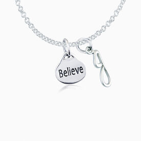 Sterling Silver Oval Believe Necklace