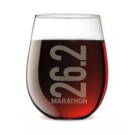 Running Stemless Wine Glass 26.2 Marathon Vertical