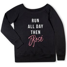 Running Fleece Wide Neck Sweatshirt - Run all Day then Rosé