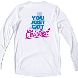 Women's White Long Sleeve Tech Tee You Just Got Chicked
