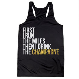Women's Racerback Performance Tank Top - Then I Drink The Champagne