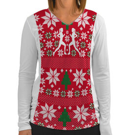 Women's Customized White Long Sleeve Tech Tee Ugly Sweater Vest