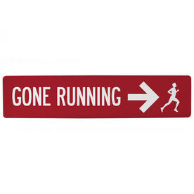 "Running Aluminum Room Sign - Gone Running Guy (4""x18"")"