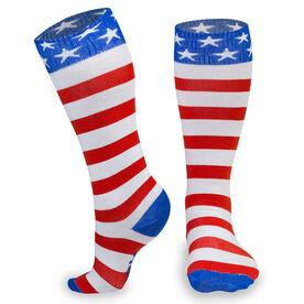 Woven Yakety Yak! Knee High Socks - USA Stripes