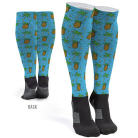 Printed Knee-High Socks - Palm Trees and Pineapples