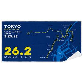 Running Premium Beach Towel - Personalized Tokyo Map