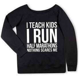 Running Fleece Wide Neck Sweatshirt - I Teach Kids I Run Half Marathons