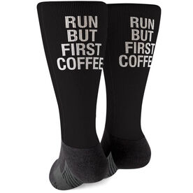 Running Printed Mid-Calf Socks - Run But First Coffee