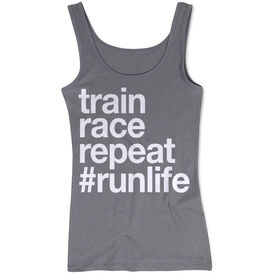 Women's Athletic Tank Top - Train Race Repeat
