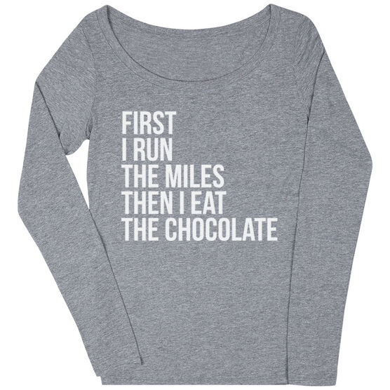 Women's Runner Scoop Neck Long Sleeve Tee - Then I Eat The Chocolate