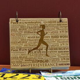 Engraved Bamboo Wood BibFOLIO Running Inspiration Female