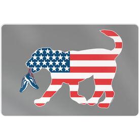 """Running 18"""" X 12"""" Aluminum Room Sign - Patriotic Running Dog"""