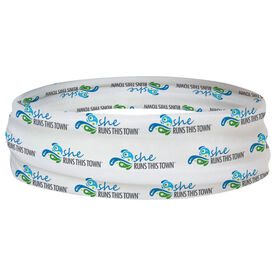 Running Multifunctional Headwear - She Runs This Town Logo Swirl Pattern RokBAND