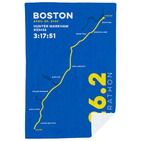 Running Premium Blanket - Boston 26.2 Route