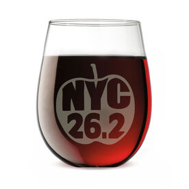 Marathon Stemless Wine Glass NYC 26.2 Apple