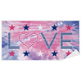 Premium Beach Towel - Stars & Stripes Love Tie-Dye