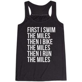 Flowy Racerback Tank Top - Swim Bike Run The Miles