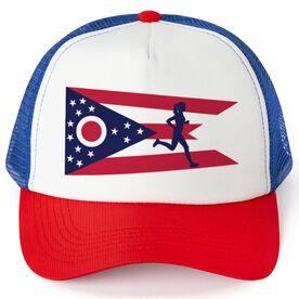 Running Trucker Hat - Ohio Flag Female Runner