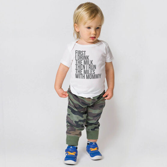 Running Baby T-Shirt - Then I Run The Miles With Mommy