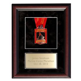 Cherry Wood Medal Display Frame for Runners and Triathletes with Brass Engraved Plate