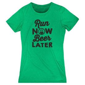 Women's Everyday Runner's Tee Run Club Run Now Beer Later (White Tee)