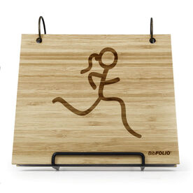 Engraved Bamboo Wood BibFOLIO® Race Bib Album - Runner Girl Stick Figure