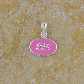 Sterling Silver and Pink Enamel Mini 10K Charm