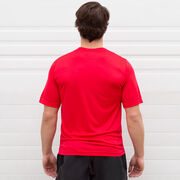 Men's Running Short Sleeve Tech Tee - Life's Short Run Long (Mountains)