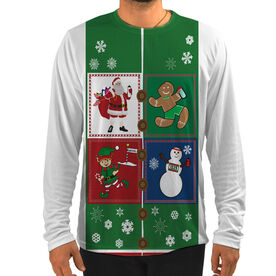 Men's Running Customized Long Sleeve Tech Tee Santa Gingerbread Man Snowman Runners