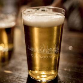 Running 16 oz Beer Pint Glass - Chicago Sketch