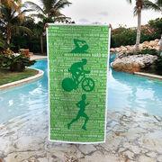 Triathlon Premium Beach Towel - Swim Bike Run Inspiration Male