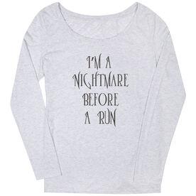 Women's Runner Scoop Neck Long Sleeve Tee - I'm A Nightmare Before A Run