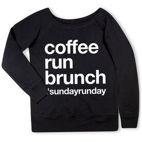Running Fleece Wide Neck Sweatshirt - Coffee Run Brunch