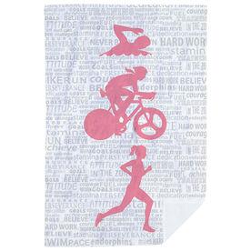 Triathlon Premium Blanket - Swim Bike Run Inspiration Female