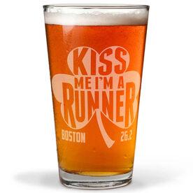 16 oz Beer Pint Glass Kiss Me Shamrock Runner Boston 26.2