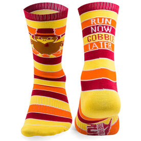 Running Woven Mid Calf Socks - Run Now Gobble Later (Yellow/Orange/Brown)