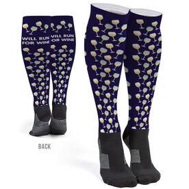 Running Printed Knee-High Socks - Will Run For Wine