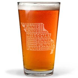 20 oz Beer Pint Glass Missouri State Runner