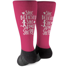 Running Printed Mid-Calf Socks - She Believed She Could So She Did