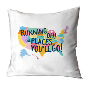 Running Throw Pillow - Running...Oh! The Places You'll Go!
