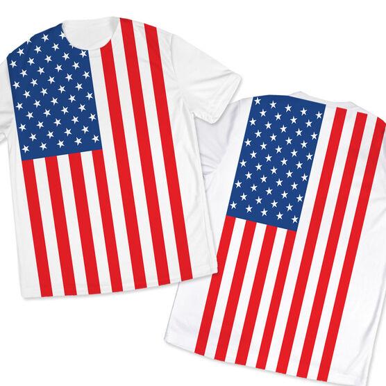 Men's Running Customized Short Sleeve Tech Tee American Flag