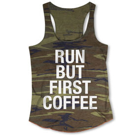 Running Camouflage Racerback Tank Top - Run But First Coffee