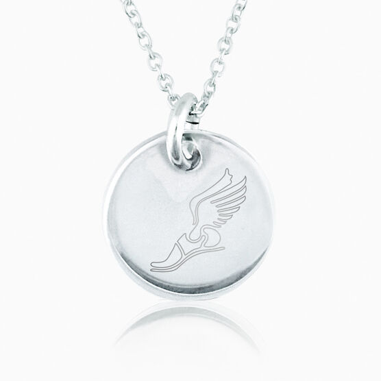 Sterling Silver Winged Foot Engraved 16mm Circle Pendant ...
