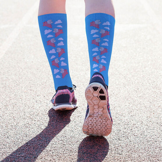 Running Printed Mid-Calf Socks - Flying Pig